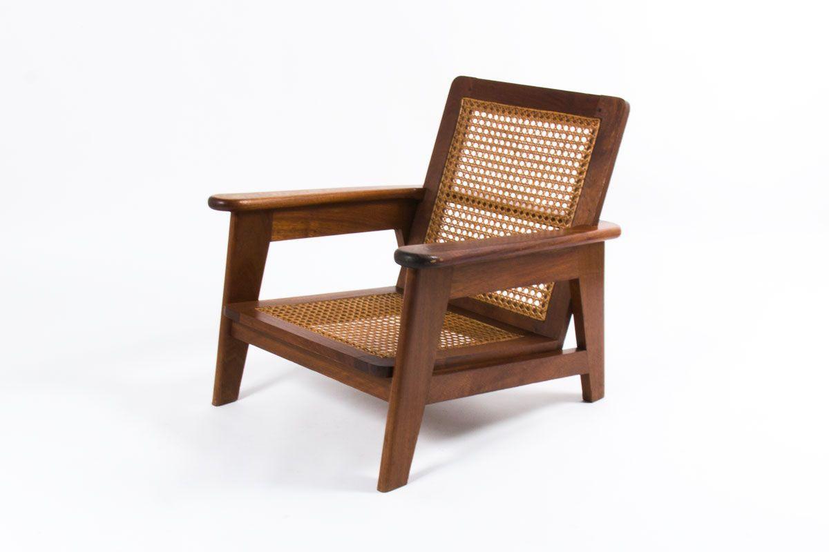 Fauteuil Vintage En Bois Et Cannage Design Minimaliste Des