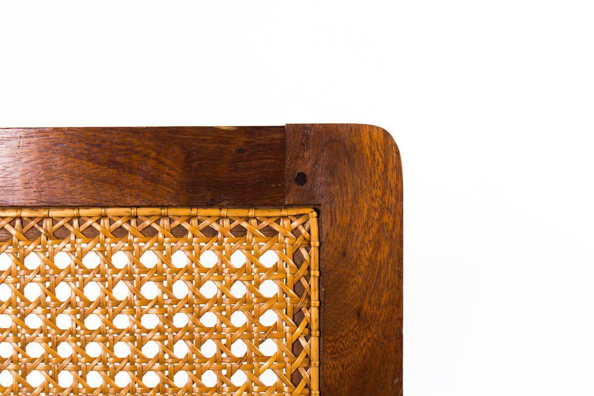 Fauteuil en palissandre et cannage ligne minimaliste 1950
