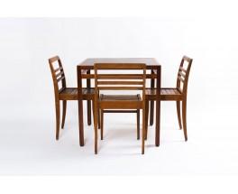 Table de repas carree Andre Sornay en acajou et plateau stratifie noir 1950