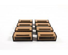 Appliques orientables en metal noir et dore 1950 set de 8