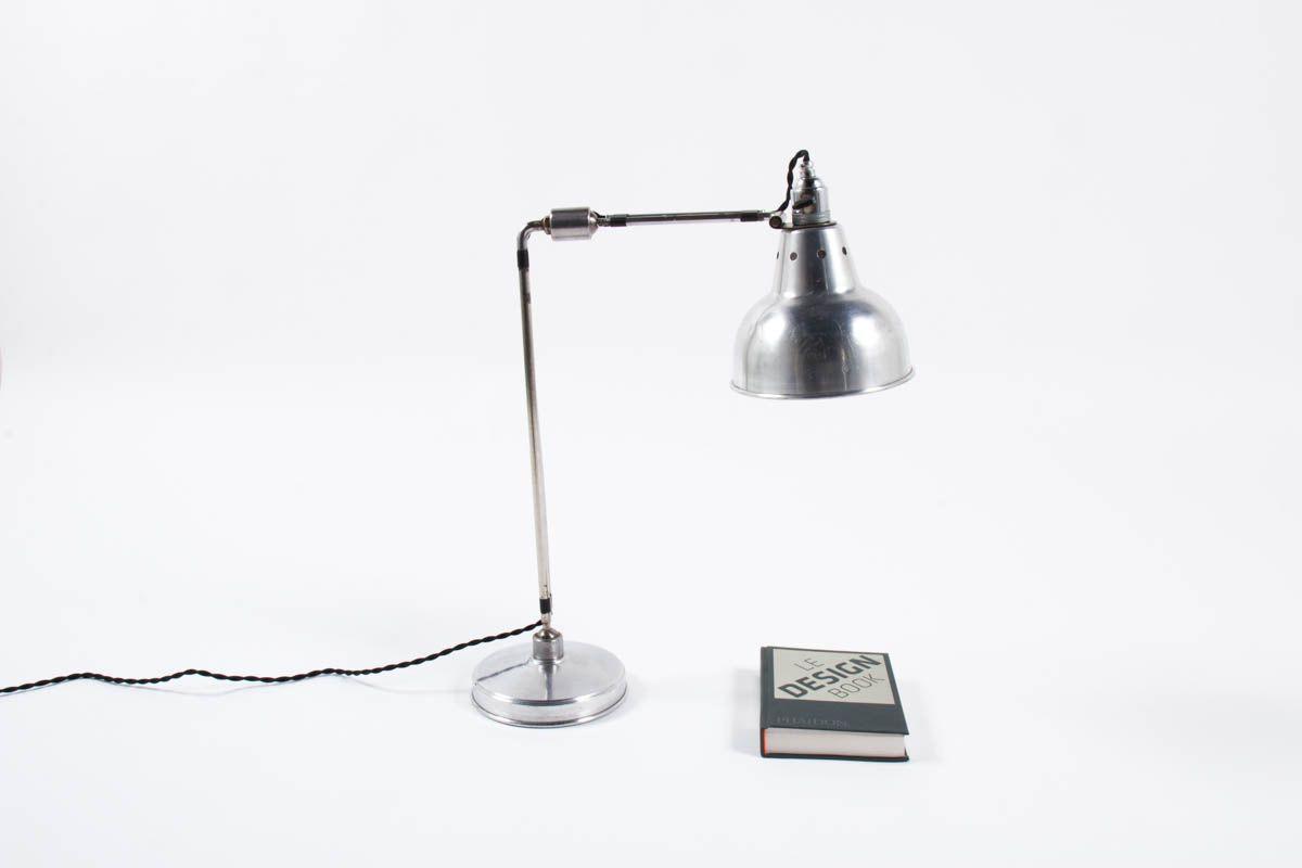 Lampe de bureau Georges Houillon modele nickele 1930