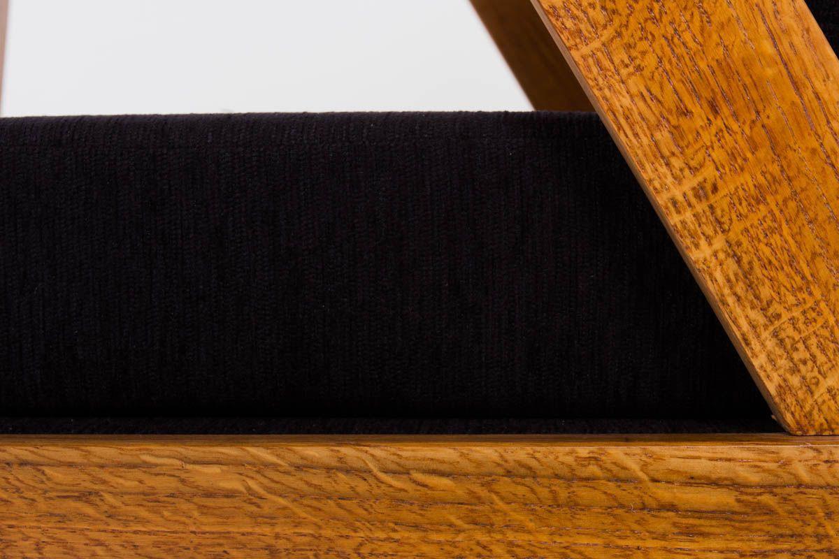 Fauteuils periode reconstruction en chene massif tissu velours chine noir 1950 set de 2