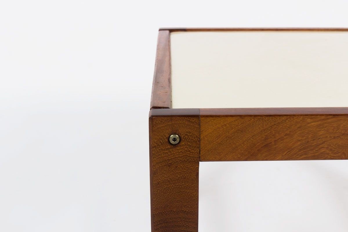 Table basse en acajou et plateau blanc Andre Sornay 1950