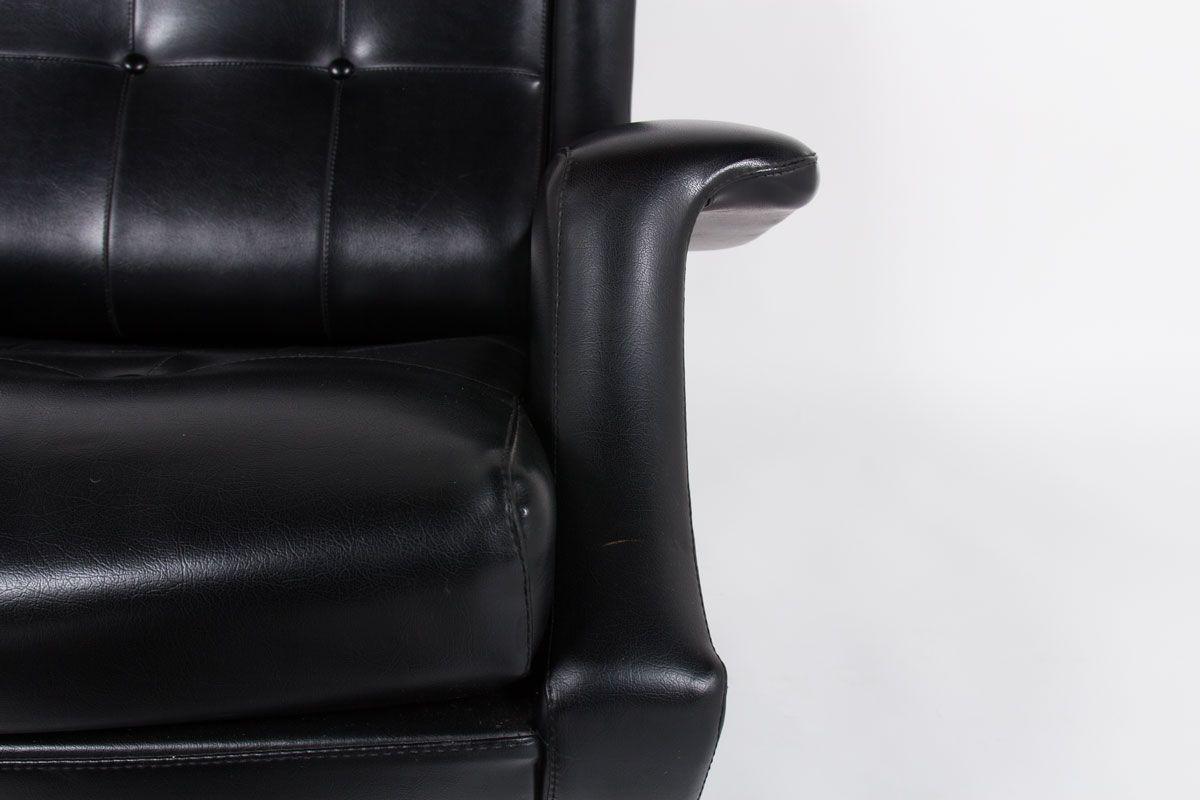 Fauteuil et ottoman Marco Zanuso modele Regent en skai noir edition Arflex 1960