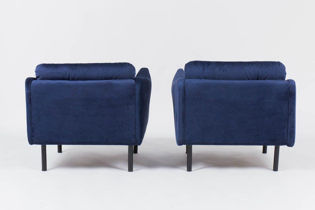 Fauteuils Michel Mortier modele Teckel en microfibre bleu edition Steiner 1950 set de 2