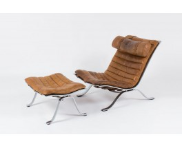 Lounge chair Arne Norell modele ARI en cuir marron edition Norell Mobel AB 1970