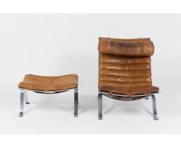 Lounge chair Arne Norell modele ARI en cuir marron edition Norell Mobel AB 1970