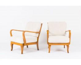 Fauteuils danois en bois et coussin en tissu polaire 1950 set de 2