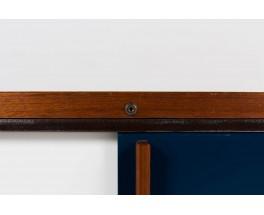 Grande enfilade Andre Sornay en acajou et panneaux laques blanc et bleu 1950