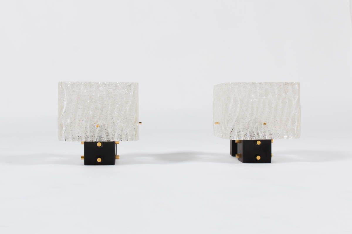Appliques structure noir laiton et verre 1950 set de 2