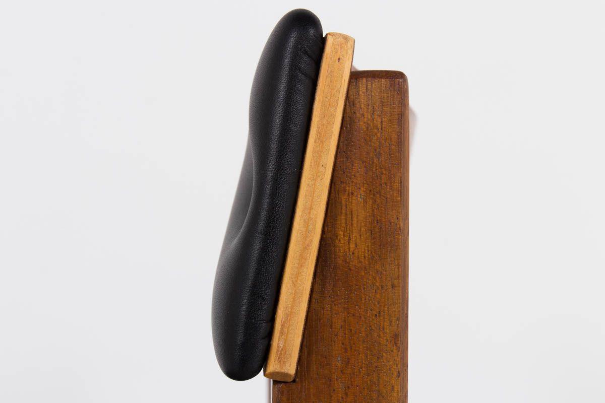 Chaises Andre Sornay acajou et cuir noir 1950 set de 4