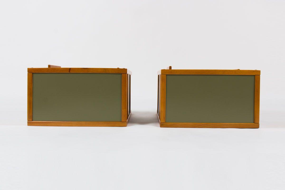 Chevets Andre Sornay hetre naturel et panneaux laques vert 1950