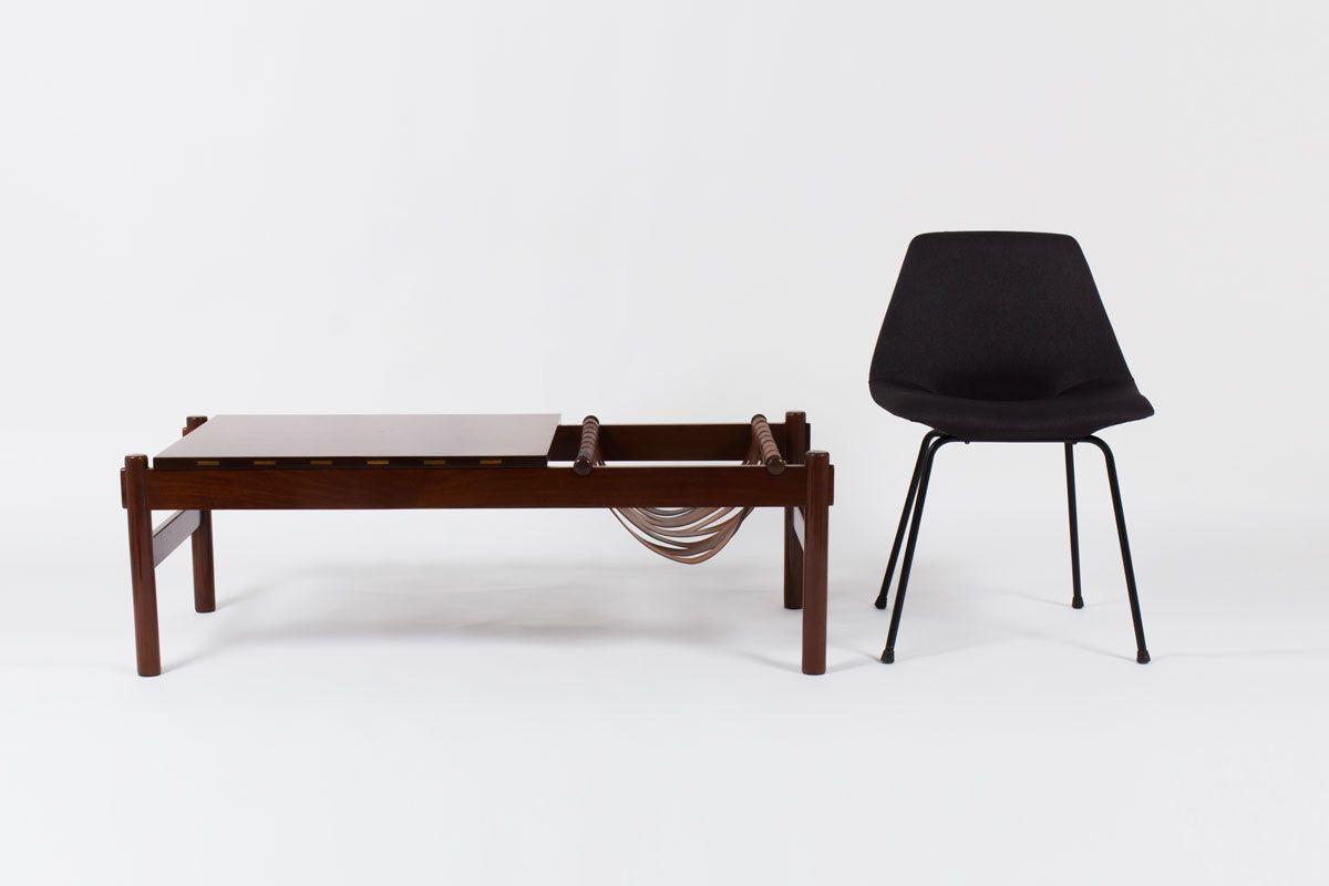 Table basse rectangulaire palissandre et cuir edition Dujo Cuba 1970