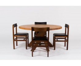 Table ronde Pierre Chapo modele T21 en orme 1960
