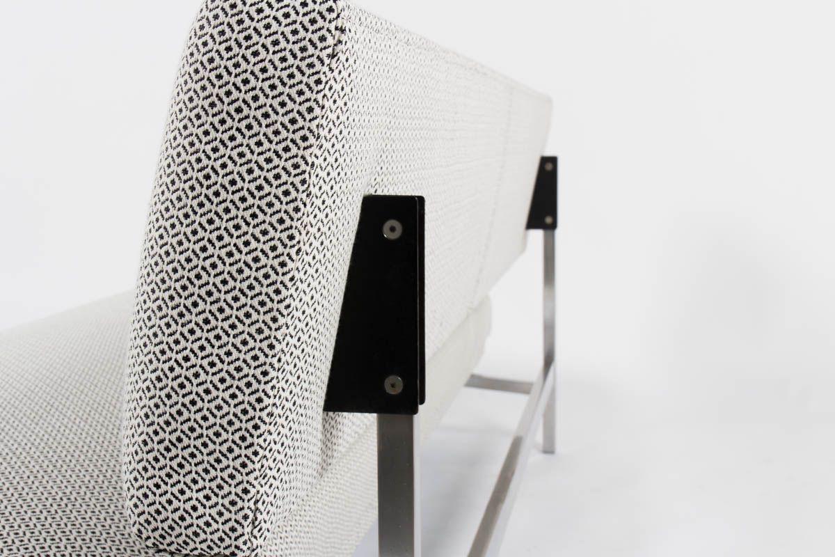 Banquette Egon Eiermann tissu noir et blanc geometrique edition Honeta 1968