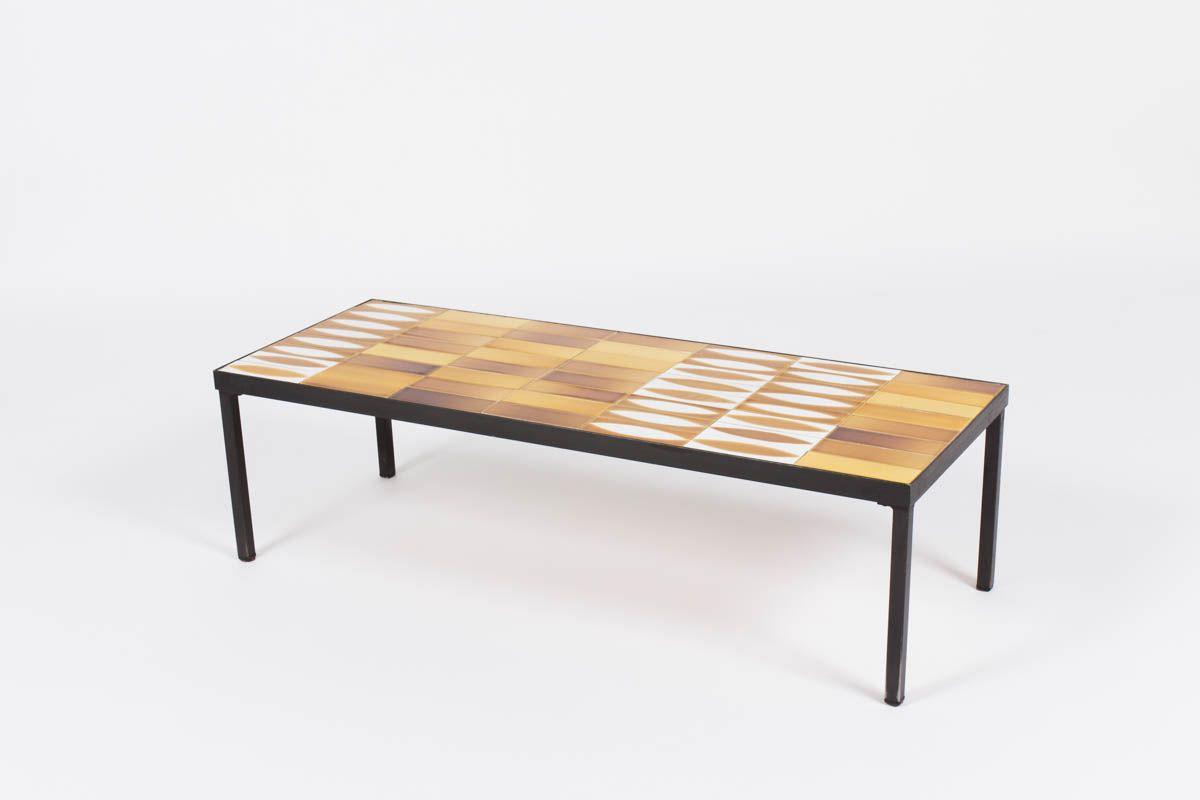 Table basse Roger Capron modele navette 1950