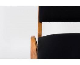 Chaises Maurice Pre en acajou et tissu maille noir 1950 set de 4