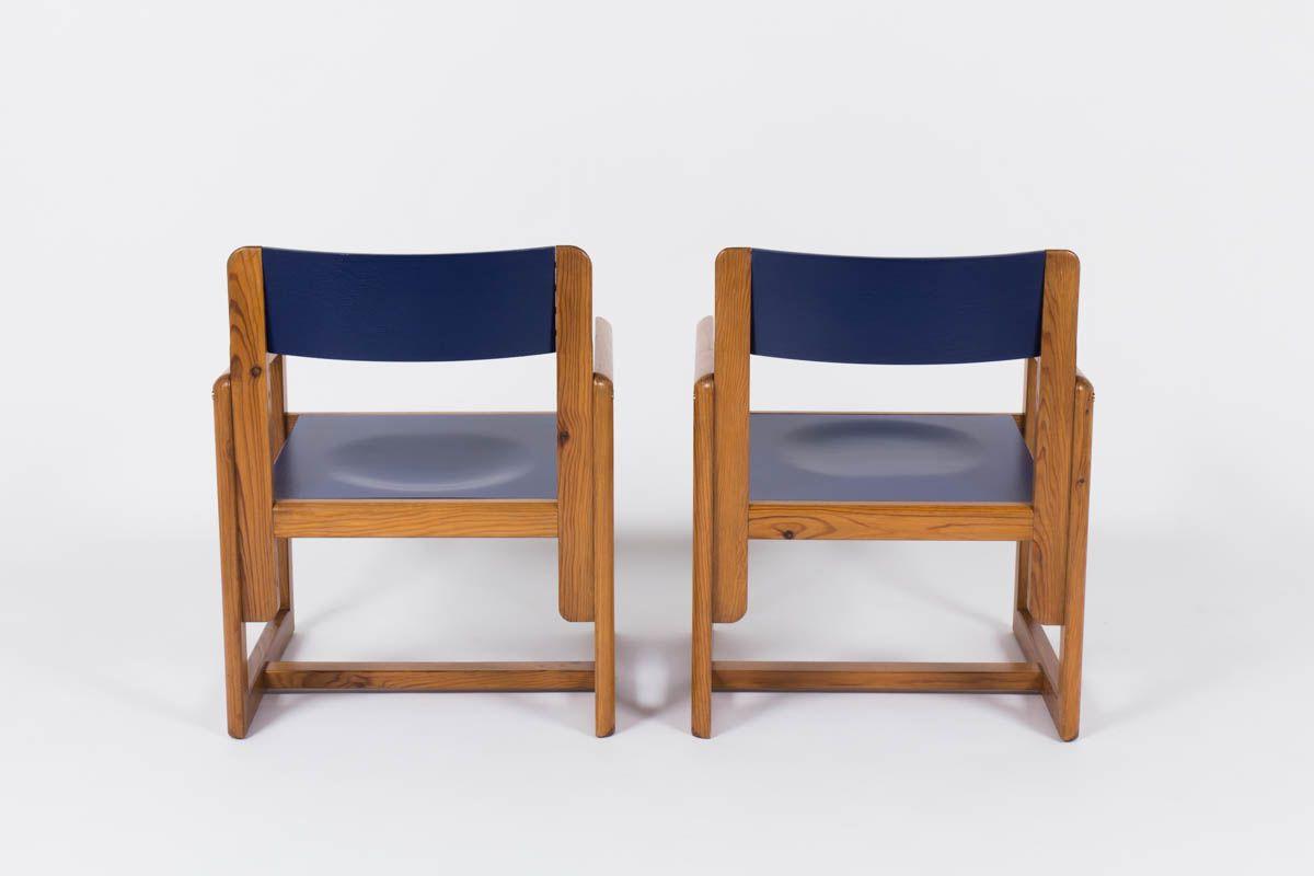 Fauteuils Andre Sornay en pin laque bleu 1950 set de 2