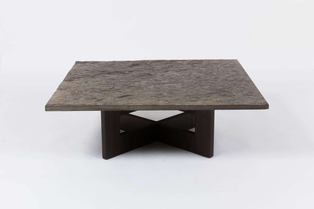 Vintage coffee table, wood base and slate top