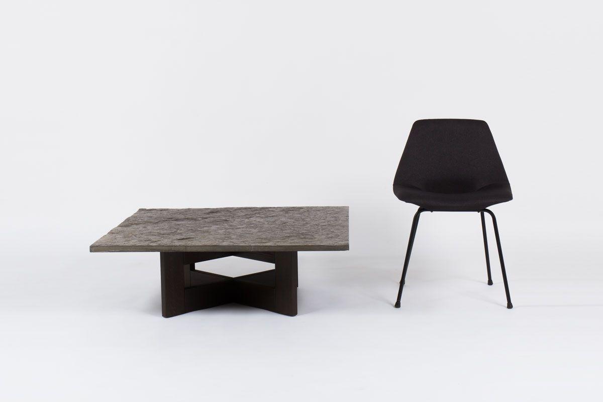 Table basse plateau ardoise pieds bois 1950
