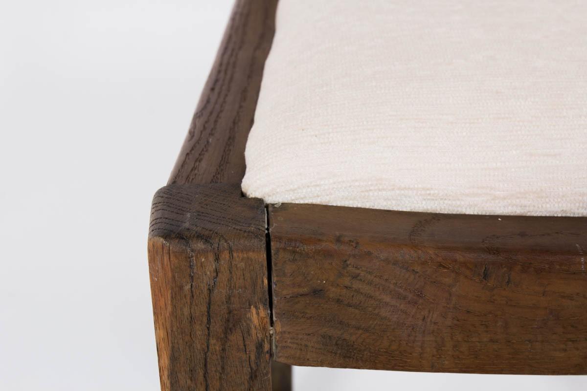 Chaises en chene et tissu velours chine beige 1950 set de 4