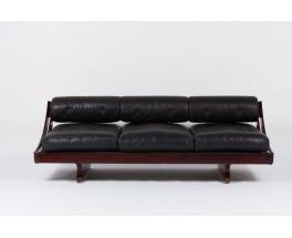 Banquette Gianni Songia modele GS195 en palissandre et cuir noir edition Sormani 1960