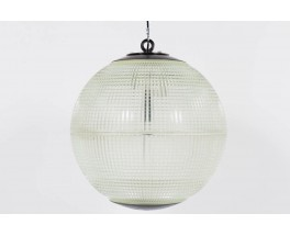 Suspension holophane en verre edition Europhane 1950