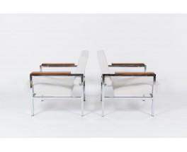Fauteuils Gijs Van Der Sluis chrome palissandre et velours blanc 1950 set de 2