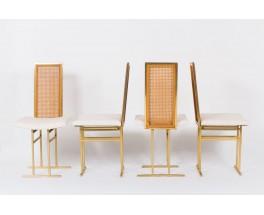 Chaises en metal dore cannage et velours chine 1970 set de 8