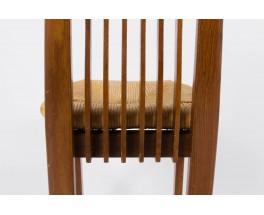 Chaises en chene et paille design italien 1950 set de 4