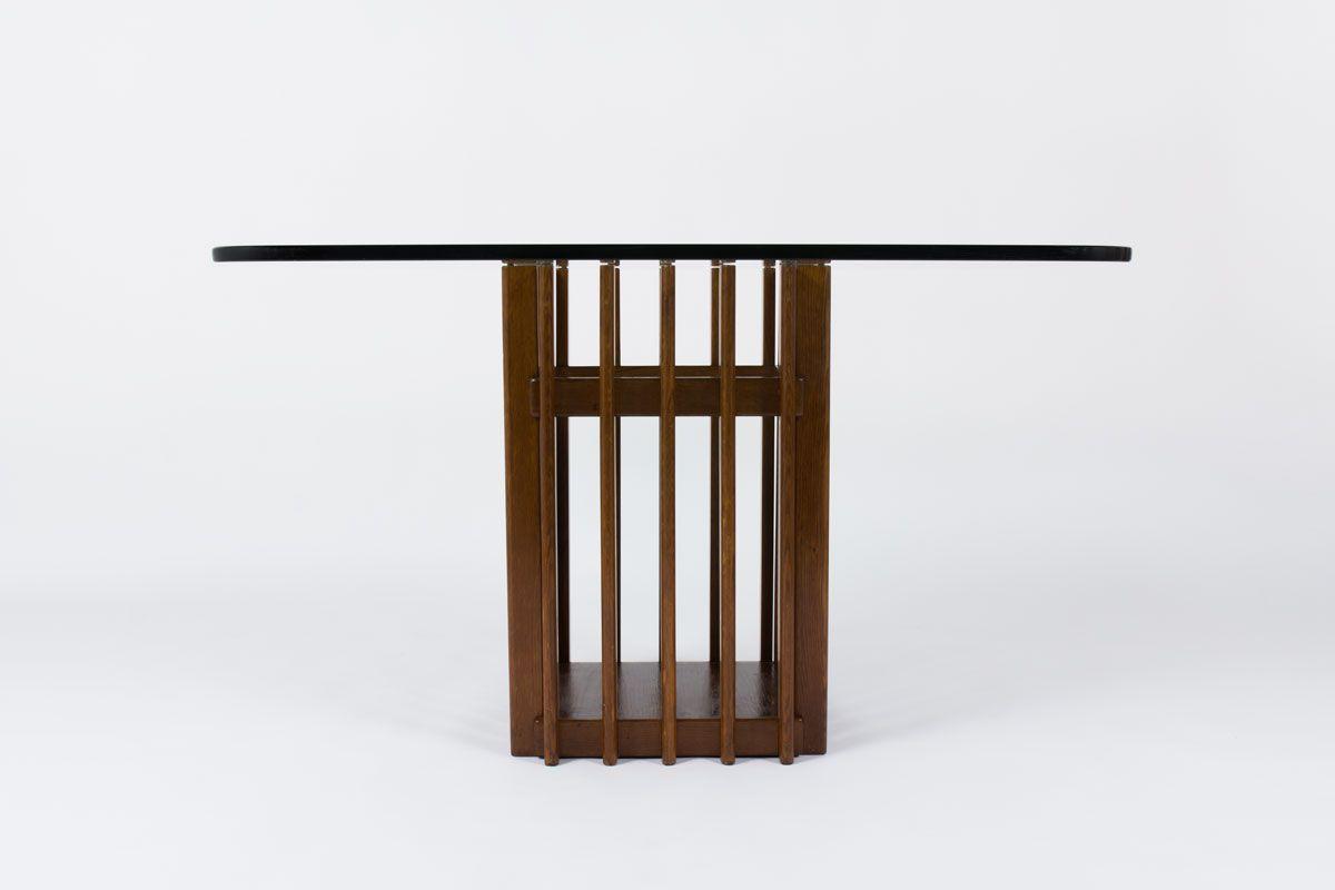 Table a manger carree pied en chene et plateau en verre design italien 1950