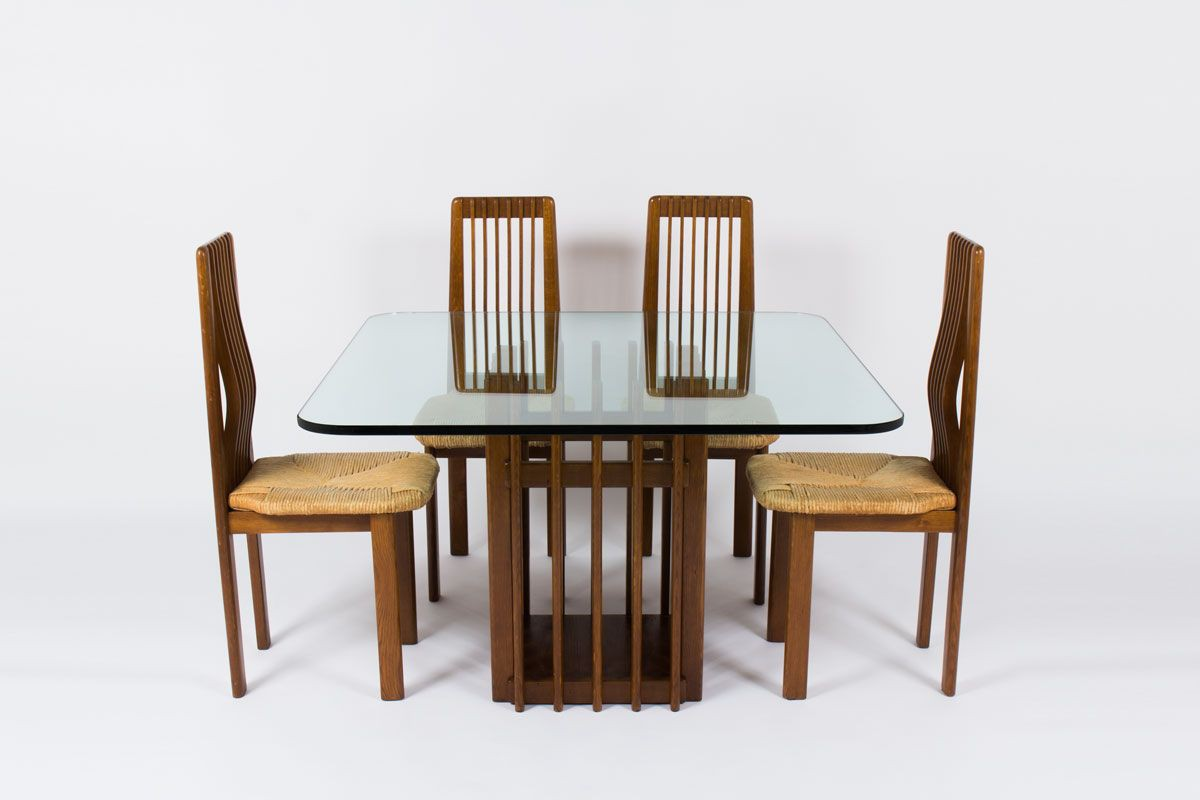 Table A Manger Carree vintage straw dining table with italian design of the 50's