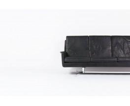 Canape 4 places en cuir et pietement en chrome design danois 1960