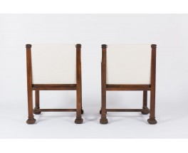 Fauteuils design américain en chene sculpte et velours chine beige 1950 set de 2