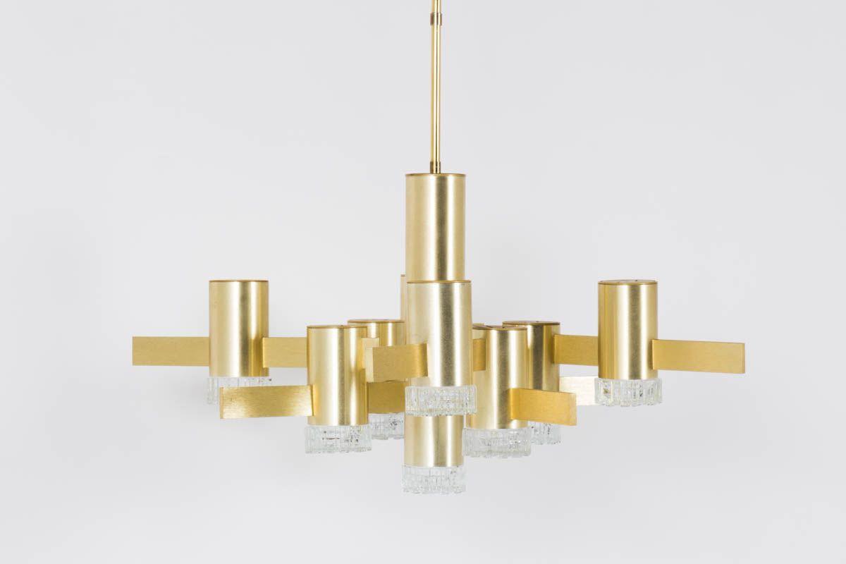Suspension Gaetano Sciolari en metal dore et globe en verre design italien 1970