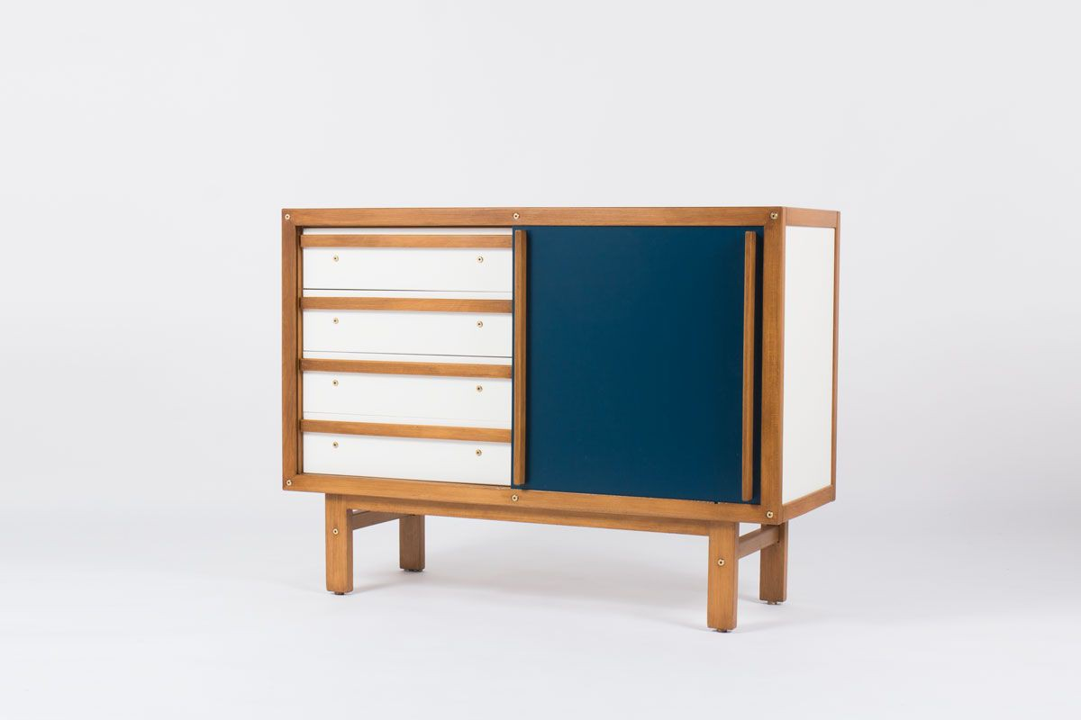Commode Andre Sornay laque blanche et bleu canard 1960