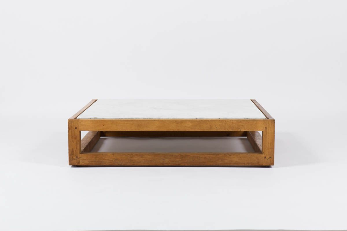 Table basse carree en chene massif et marbre de Carrare blanc 1950