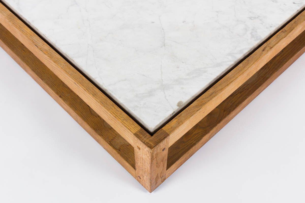 Table basse carree en chene massif et marbre de Carrare blanc 1950