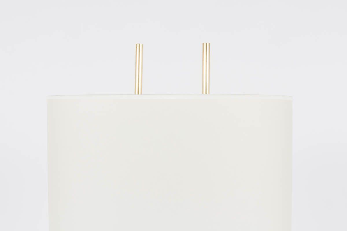 Lampadaire en metal noir laiton et abat-jour blanc design minimaliste 1950