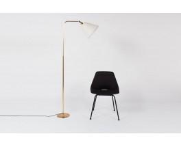 Lampadaire en laiton et abat-jour orientable blanc design chic 1950