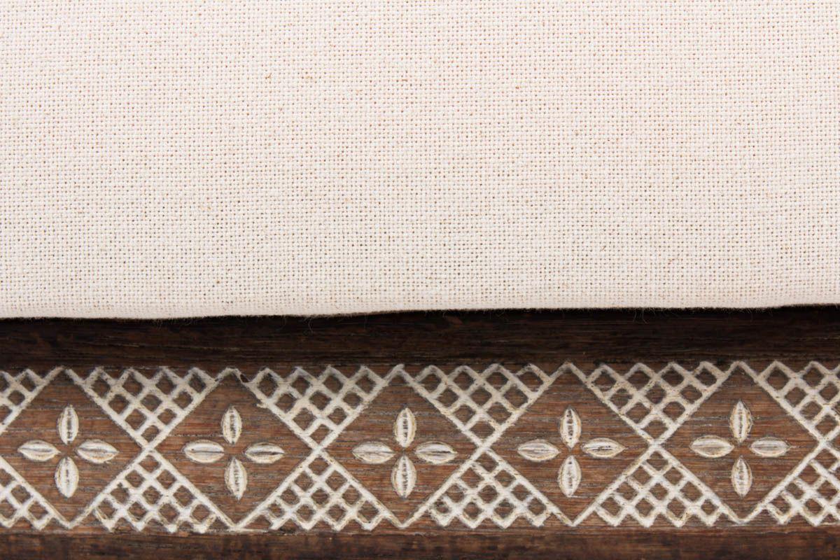 Fauteuils en teck teinte tissu lin beige design africain 1950 set de 2