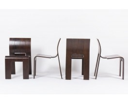 Chaises Gijs Bakker modele Strip empilable edition Castelijn 1970 set de 4