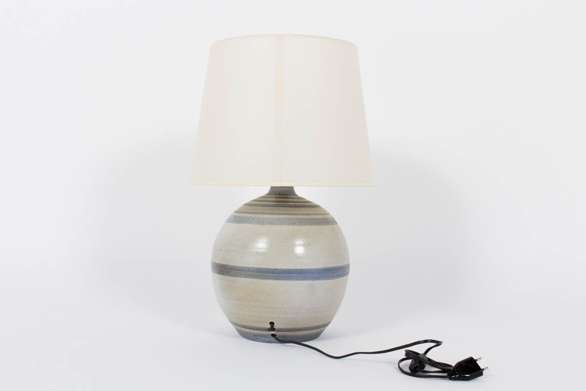 Lampe soleil bleu en ceramique abat-jour blanc 1950
