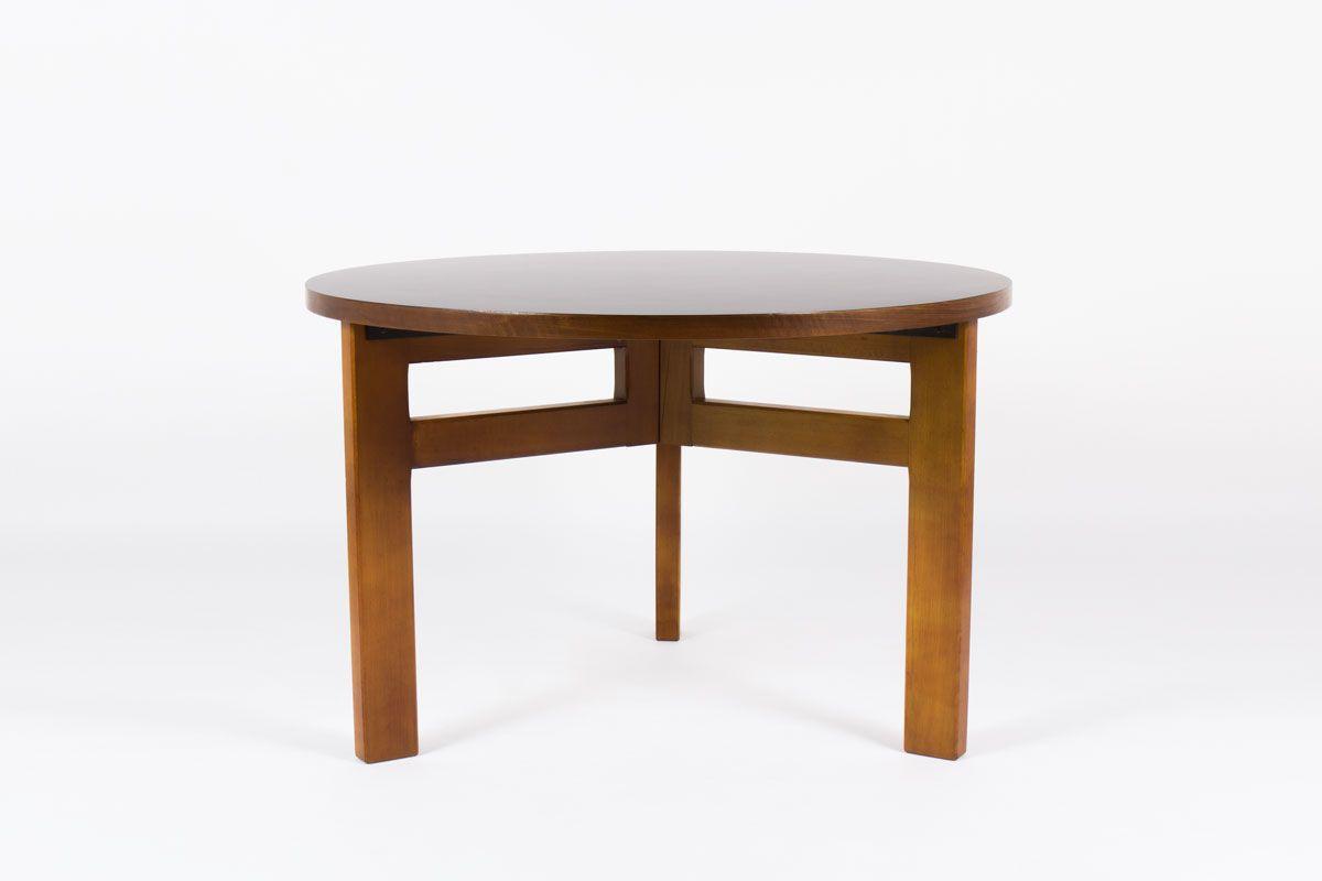 Table de repas ronde Andre Sornay modele unique en hetre teinte et stratifie noir 1950