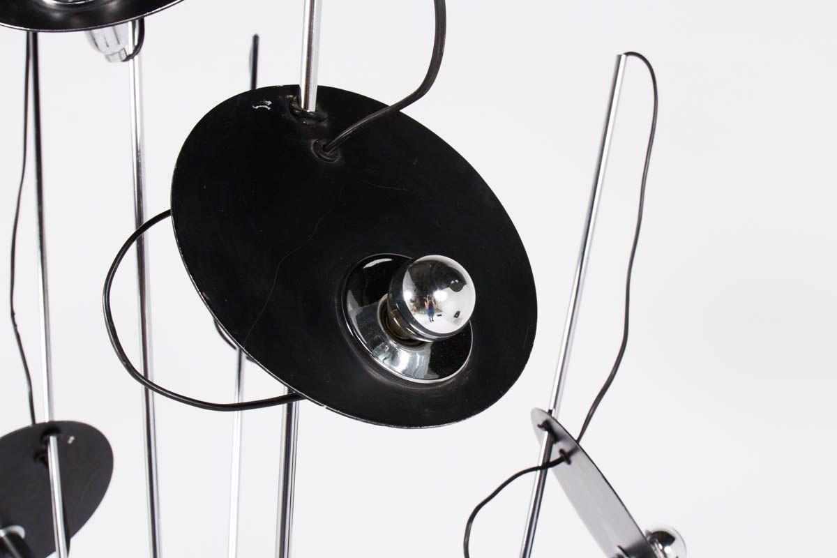 Lampadaire à 7 bras en chrome design Italien 1970