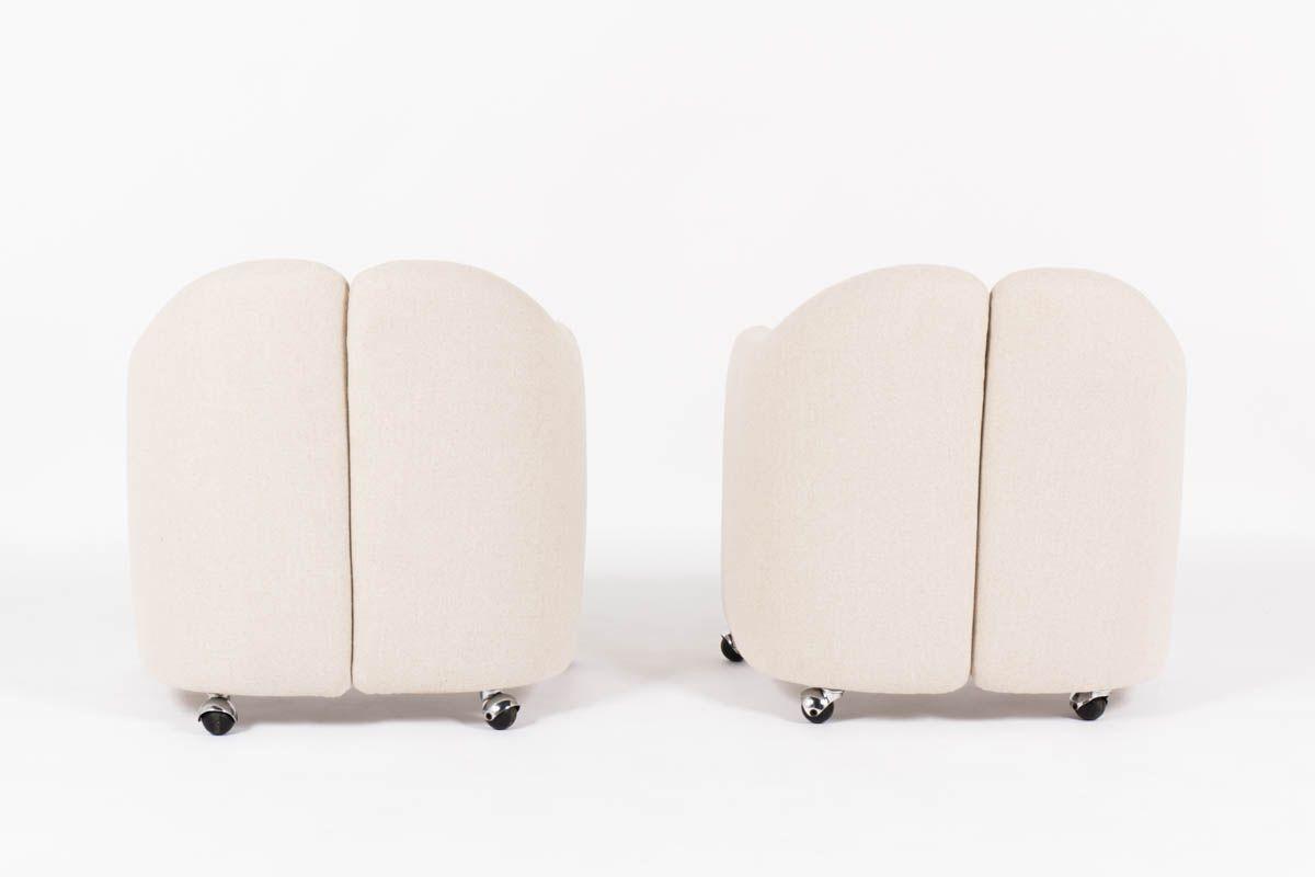 Chauffeuses Eugenio Gerli modele PS142 tissu beige edition Tecno 1960 set de 2