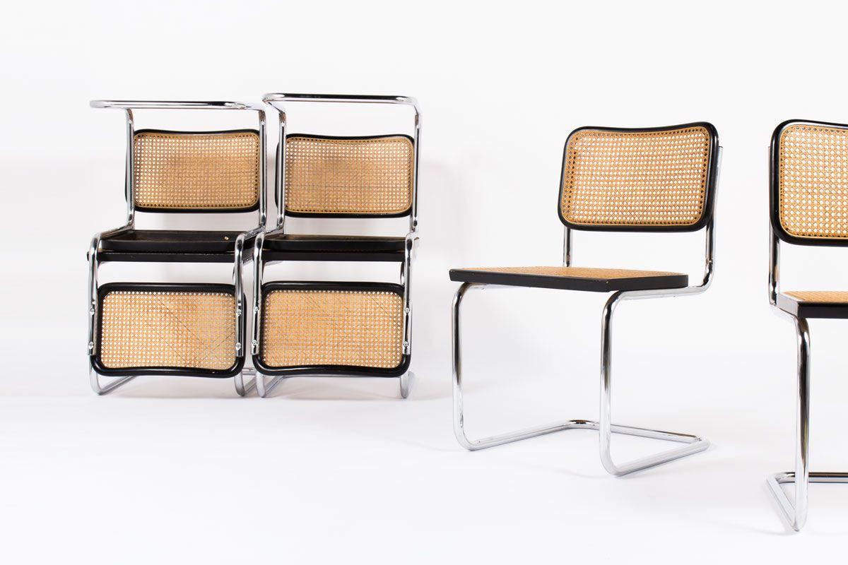 Chaises Marcel Breuer modele Cesca B32 edition Thonet 1970 set de 6