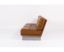 Canape Jacques Charpentier en acier et cuir marron 1970