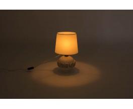 Lampe en ceramique blanche et or design chic 1950