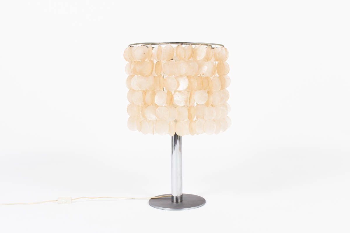 Chic And Vintage Lamp In Mother Of Pearl In 1970